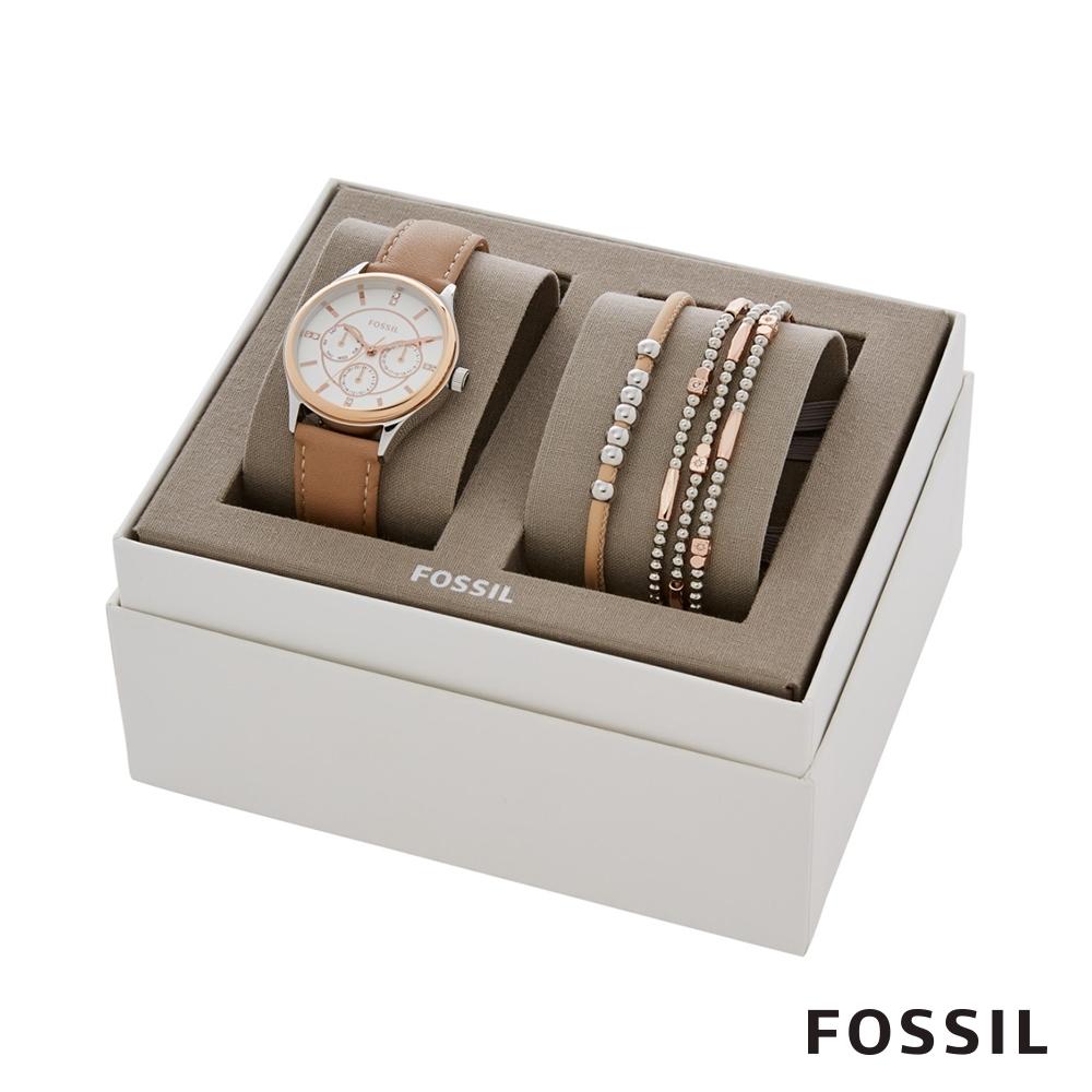 FOSSIL MODERN SOPHISTICA風格女錶及手鍊套組 36MM BQ3417