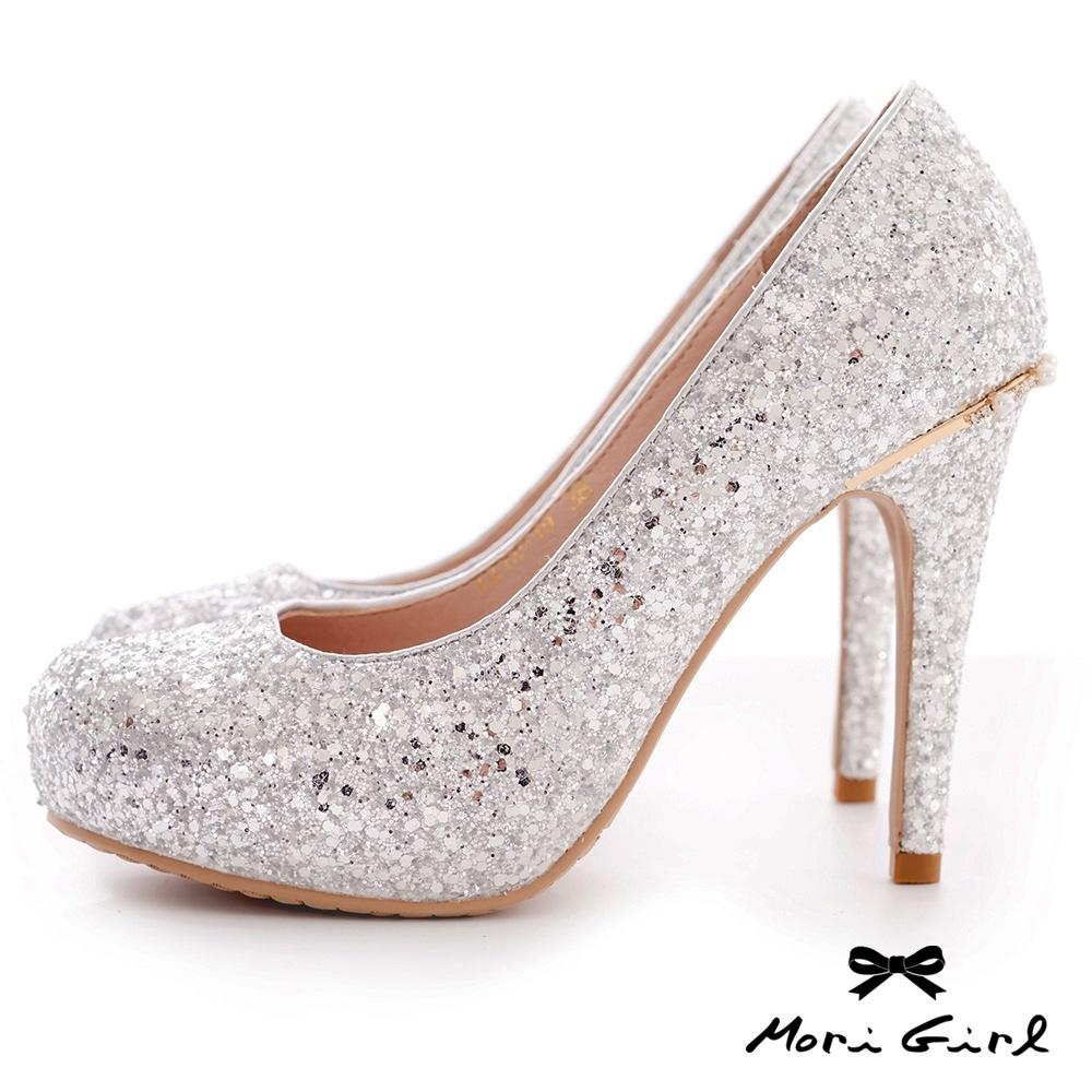Mori girl光澤亮片後水鑽珍珠高跟婚鞋 銀