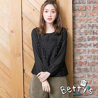 betty's貝蒂思 圓領蕾絲縫珠雪紡上衣(黑色)