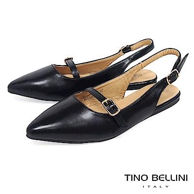 Tino Bellini 都會質感優雅雙釦帶平底鞋 _ 黑