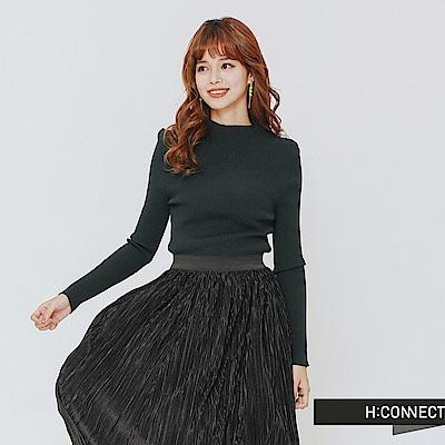 H:CONNECT 韓國品牌 女裝-簡約坑條針織上衣-綠