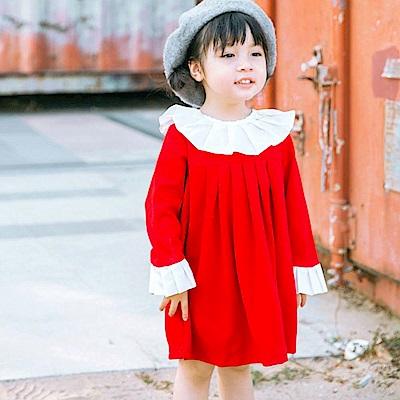 Baby unicorn 紅白百褶荷葉領長袖洋裝