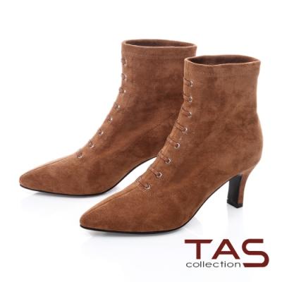 TAS質感絨布造型綁帶高跟短靴-焦糖咖