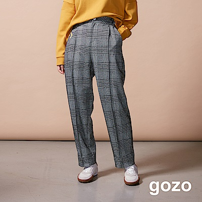 gozo 字母印字彩點千鳥紋寬版長褲(灰色)