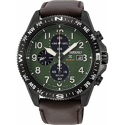 SEIKO 精工太陽能計時真皮手錶SSC739P1-綠X咖啡/44mm