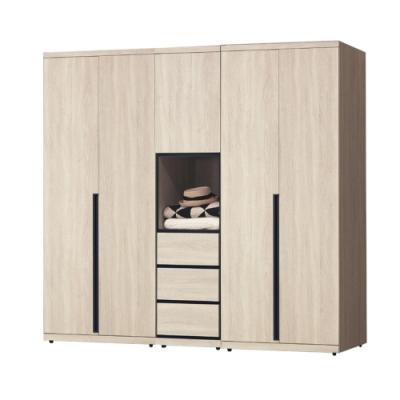 綠活居 法列德 現代6.8尺多功能開門衣櫃/收納櫃組合(吊衣桿+四抽屜+內開放式層格)-205x57x202cm免組