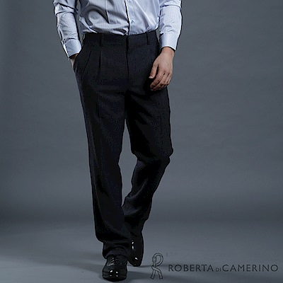 ROBERTA諾貝達 台灣製 都會休閒 打摺羊毛平面西裝褲 黑色