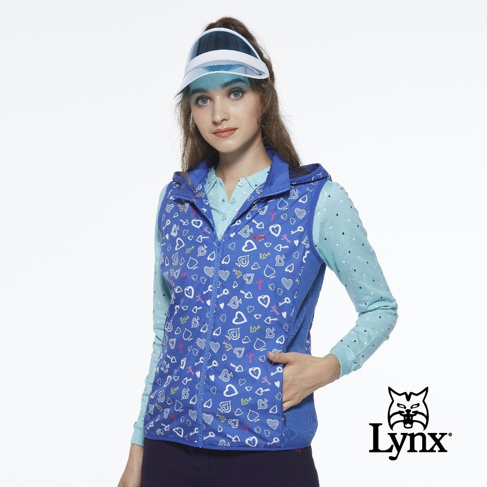 【Lynx Golf】女款防潑水內刷毛愛心印花可拆可調節式連帽無無袖背心-寶藍色