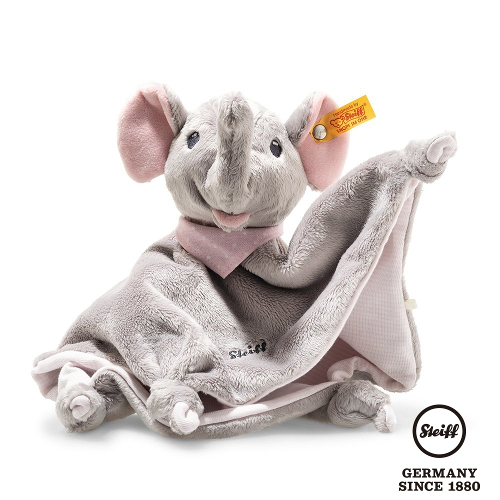 STEIFF德國金耳釦泰迪熊 Trampili Elephant 粉紅大象  (嬰幼兒安撫巾)
