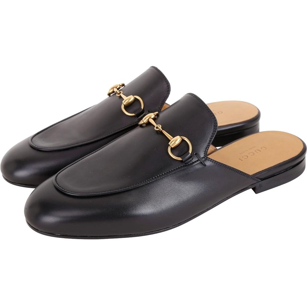 GUCCI Princetown 經典馬銜鍊穆勒鞋(黑色)