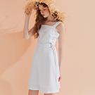 AIR SPACE LADY 氣質方領寬帶短洋裝(白)