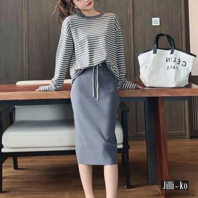 JILLI-KO 條紋上衣鬆緊綁結及膝裙兩件式針織套裝- 黑/灰