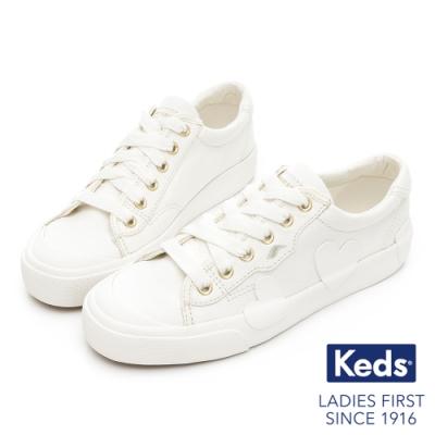 Keds x Kate Spade 聯名款 CREW KICK 童趣愛心帆布休閒鞋-白