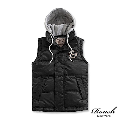 Roush (帽可拆)灰色連帽鋪棉背心(2色)