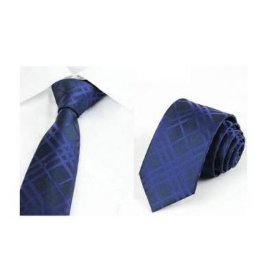 Laifuu拉福,藍格紋領帶7cm中版領帶拉鍊領帶