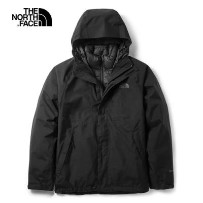 The North Face北面男款黑色防水保暖三合一外套|3VSHJK3