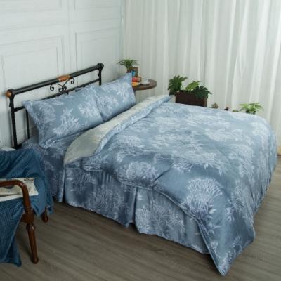 夢工場淺草悠悠40支紗萊賽爾天絲四件式鋪錦床罩組-加大