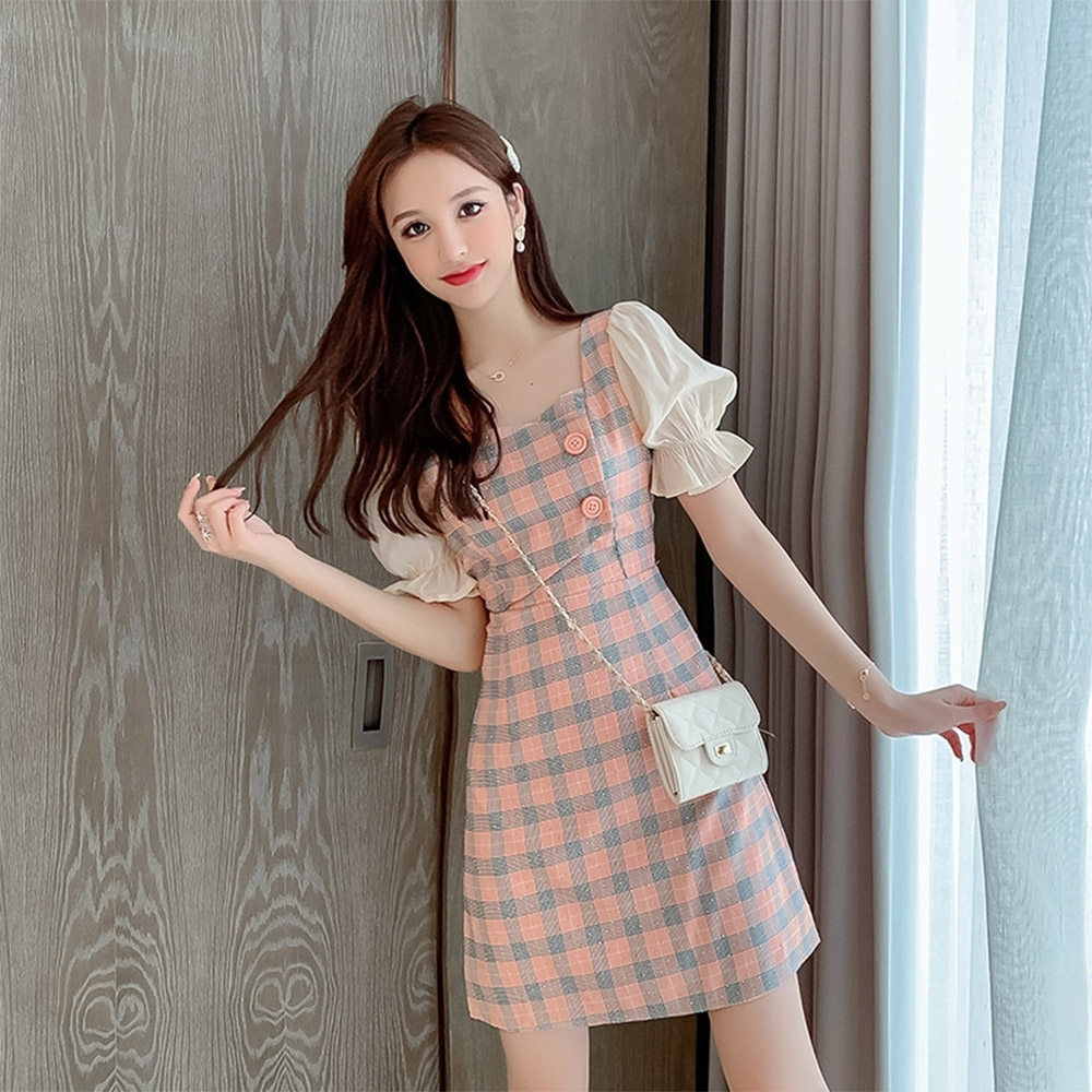 【KISSDIAMOND】法式氣質短袖拼接格子雪紡連衣裙(優雅/約會/甜美/KDD-5515)