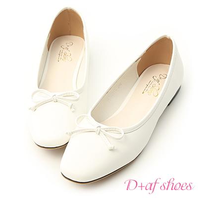 D+AF 法式甜心.小方頭平底芭蕾娃娃鞋*白
