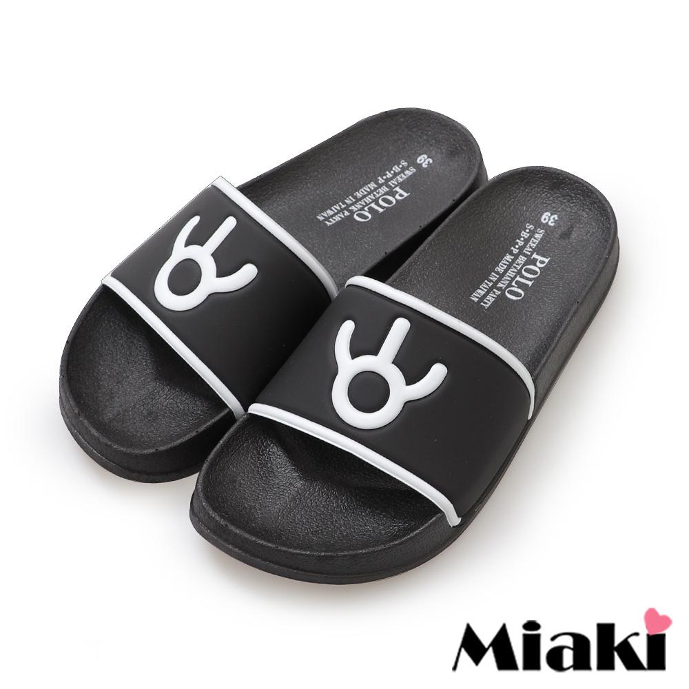 Miaki-拖鞋簡約時尚平底涼拖鞋-黑