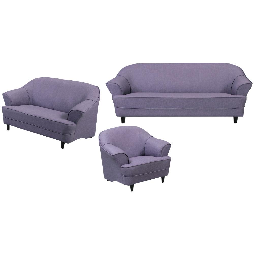 綠活居 巴恩時尚灰亞麻布沙發椅組合(1+2+3人座)