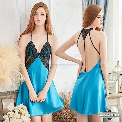 大尺碼 緞面黑色蕾絲美背性感睡衣 藍L-2L Annabery