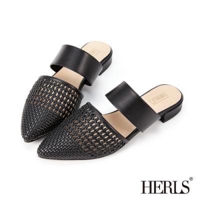 HERLS穆勒鞋-編織鏤空橫帶尖頭低跟穆勒鞋拖鞋-黑色