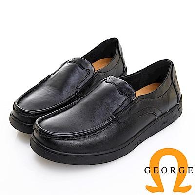 GEORGE 喬治皮鞋 舒適系列 素面超軟牛皮懶人休閒鞋 -黑色