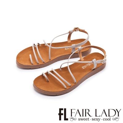 FAIR LADY 盛夏 細帶線條繞趾平底涼鞋 薰衣草