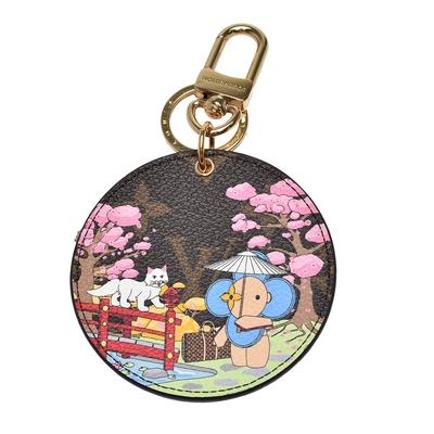 LV M00499 經典Monogram帆布吉祥物日本庭園的印花吊飾/鑰匙圈