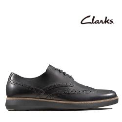 Clarks 步步清新 全皮面復古簡約風正裝休閒鞋 黑色