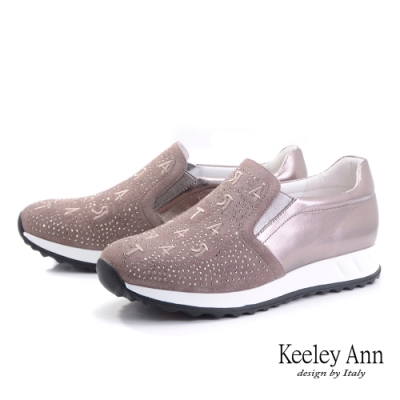 Keeley Ann我的日常生活 字母水鑽全真皮休閒鞋(槍色-Ann系列)