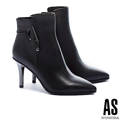 短靴 AS 時髦個性羊皮美型尖頭高跟短靴-黑