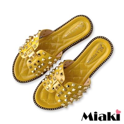 Miaki-拖鞋金屬韓系平底涼拖-黃