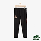 ROOTS男裝 周年系列刷毛家徽棉質長褲-黑色