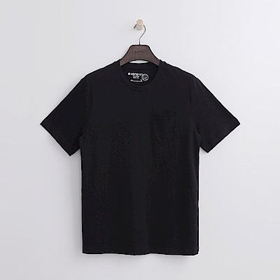 Hang Ten - 男裝 -有機棉 口袋造型竹節T恤-黑色