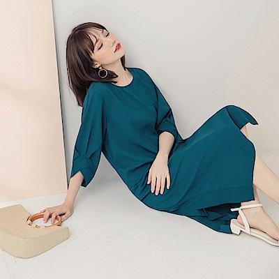 純色造型袖雪紡洋裝-OB大尺碼