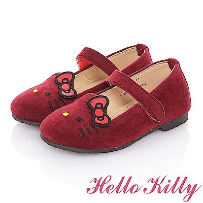 HelloKitty 高級手工超纖皮輕量減壓樂福娃娃童鞋 紅色