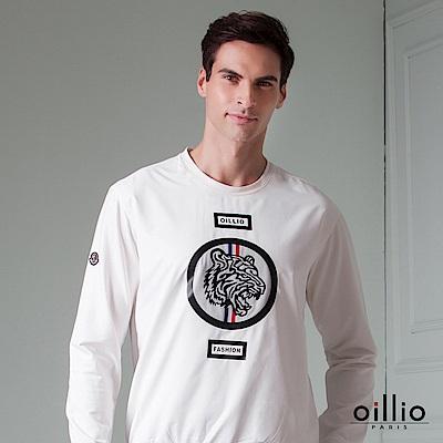 歐洲貴族 oillio 長袖T恤 休閒印花 年輕款式 白色