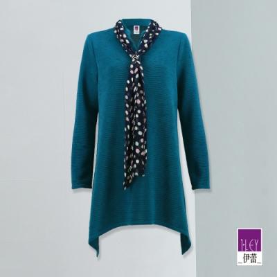 ILEY伊蕾 繽紛圓點絲巾細壓紋上衣(藍)