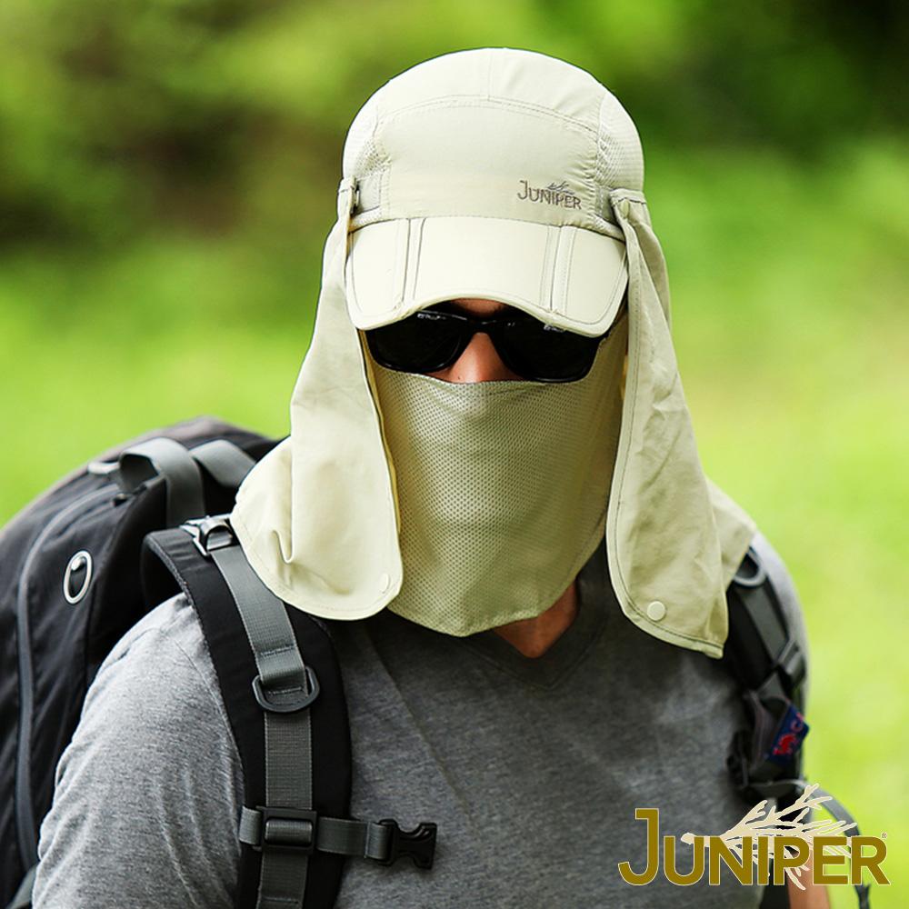 JUNIPER 全方位可收納防曬抗UV防潑水運動休閒釣魚帽+可拆式披風及口罩