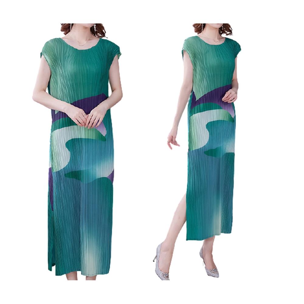 [KEITH-WILL]展現浪漫三宅壓褶風洋裝 (綠色)