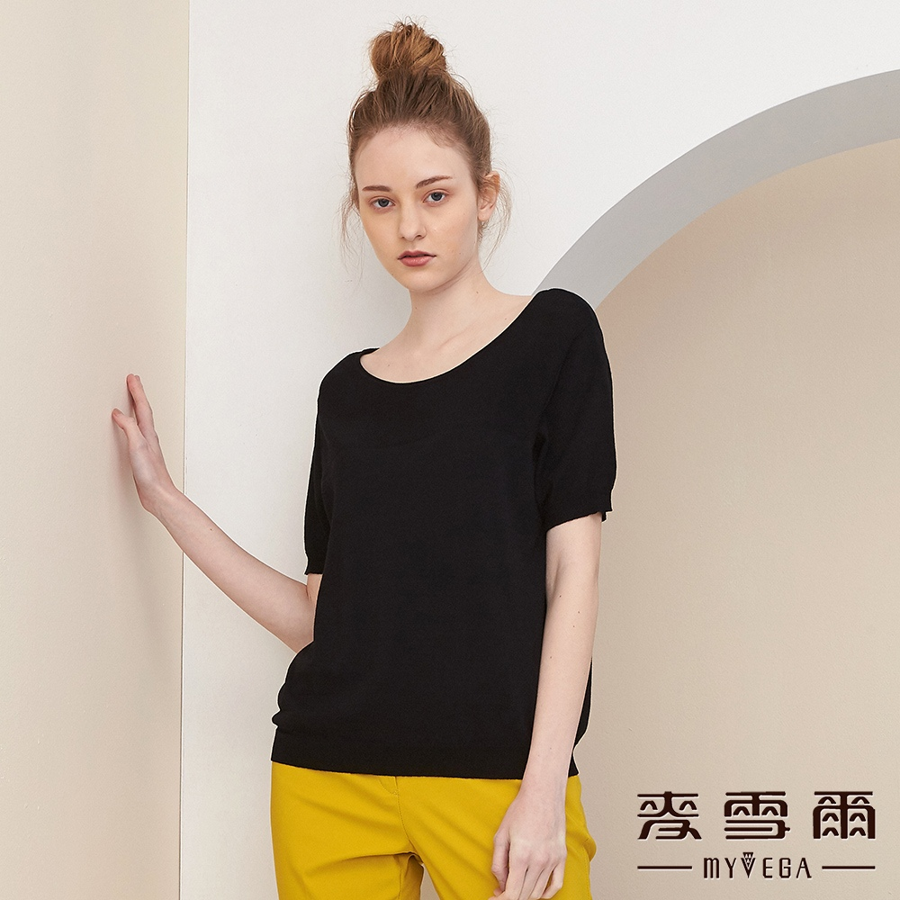 【麥雪爾】變化組織棉質質感針織衫-黑