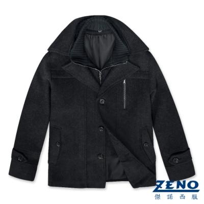 ZENO 排扣翻領假二件式毛呢大衣‧灰色