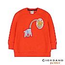 GIORDANO 童裝手繪風格宇宙動物刷毛長袖上衣-39 橘子