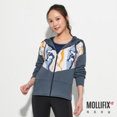 Mollifix 瑪莉菲絲 潮流拼接印花連帽外套 (灰藍)
