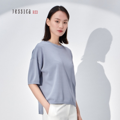 JESSICA RED - 簡約圓領素色落肩短袖針織上衣