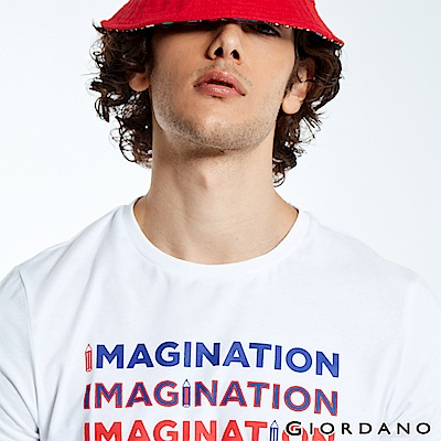 GIORDANO 男裝LEARN N PLAY系列印花短袖T恤-21 標誌白