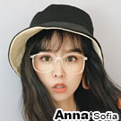 AnnaSofia 街頭中性雙面用 遮陽防曬漁夫帽盆帽(黑+杏系)