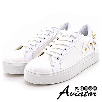 Aviator*韓國空運-立體小花造型百搭厚底懶人鞋-白